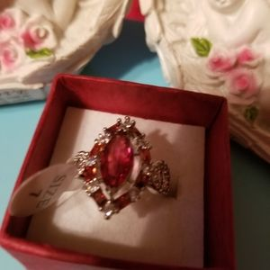 Ruby ring size 7 sterling silver